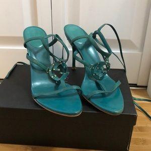 Gucci turquoise tie up stilettos